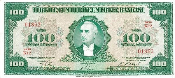 Turkey 100 Lirasi (1947-1948-2)