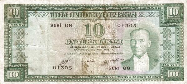 Turkey 10 Lirasi (1951-1961)