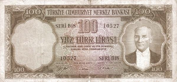 Turkey 100 Lirasi (1951-1961)