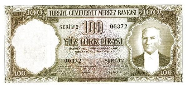 Turkey 100 Lirasi (1951-1961-2)