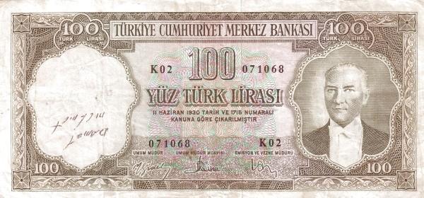 Turkey 100 Lirasi (1951-1961-3)