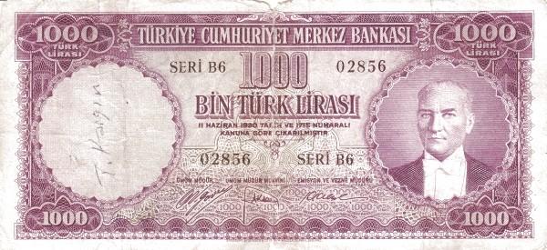 Turkey 1000 Lirasi (1951-1961)