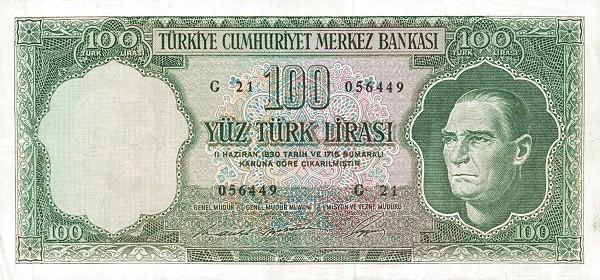 Turkey 100 Lirasi (1966-1969)