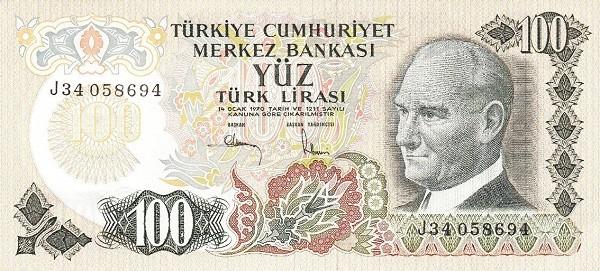 Turkey 100 Lirasi (1971-1982)