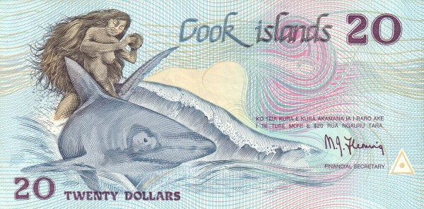"Cook Islands 20 Dollars (1987 ""Ina and the Shark"")"