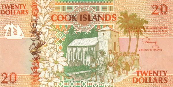 "Cook Islands 20 Dollars (1992 ""Church & Archipelagos"")"