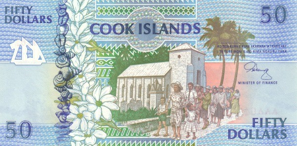 "Cook Islands 50 Dollars (1992 ""Church & Archipelagos"")"