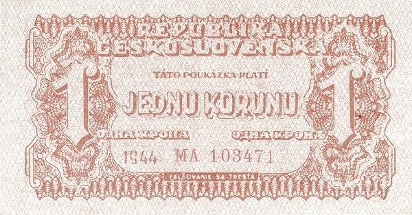 Czechoslovakia 1 Koruna (1944-1945 Republika Československá)