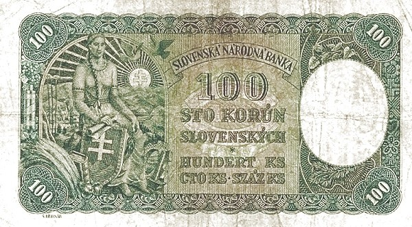"Czechoslovakia 100 Korun (1945 Provisional ""Adhesive Stamp"" Republika Československá)"