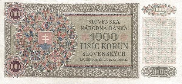 "Czechoslovakia 1000 Korun (1945 Provisional ""Adhesive Stamp"" Republika Československá)"