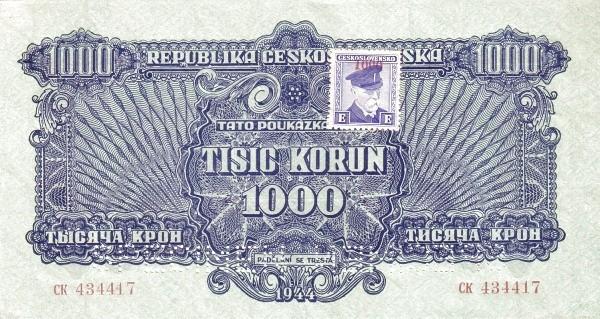 "Czechoslovakia 1000 Korun (1945 Provisional ""Adhesive Stamp"" Republika Československá-2)"