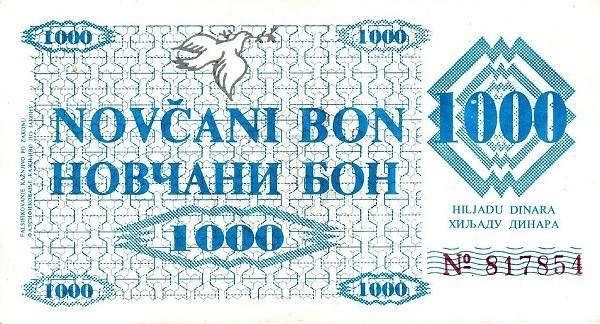 Bosnia and Herzegovina 1000 Dinara (1992 Novčani Bon)