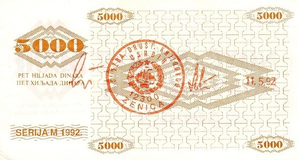 Bosnia and Herzegovina 5000 Dinara (1992 Novčani Bon)