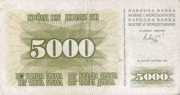 Bosnia and Herzegovina 5000 Dinara (1993 Novčani Bon)