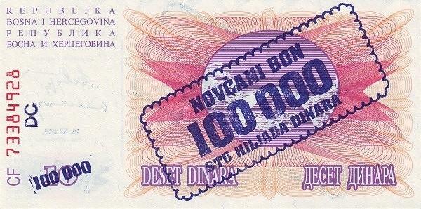 Bosnia and Herzegovina 100000 Dinara (1993 Novčani Bon)