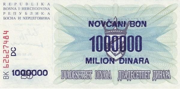 Bosnia and Herzegovina 1000000 Dinara (1993 Novčani Bon)