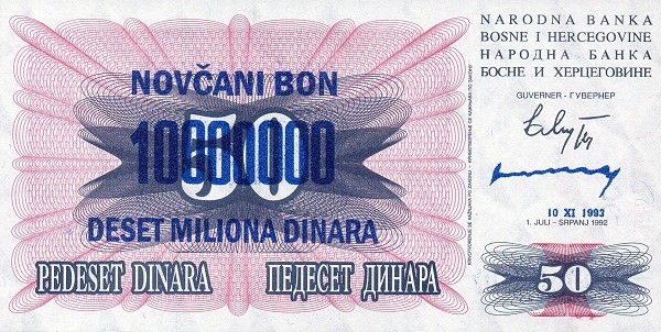 Bosnia and Herzegovina 10000000 Dinara (1993 Novčani Bon)
