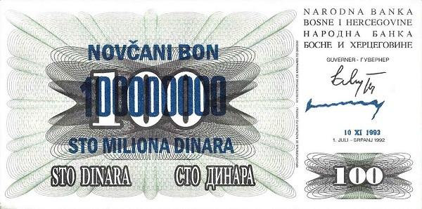 Bosnia and Herzegovina 100000000 Dinara (1993 Novčani Bon)