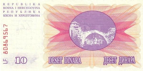 Bosnia and Herzegovina 10 Dinara (1992-1993 Narodna Banka Bosne i Hercegovine)