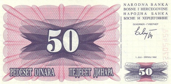 Bosnia and Herzegovina 50 Dinara (1992-1993 Narodna Banka Bosne i Hercegovine)