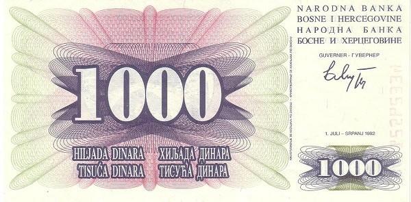 Bosnia and Herzegovina 1000 Dinara (1992-1993 Narodna Banka Bosne i Hercegovine)