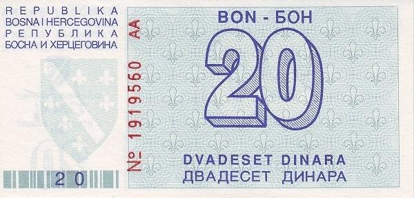 Bosnia and Herzegovina 20 Dinara (1992-1994 Narodna Banka Bosne i Hercegovine)