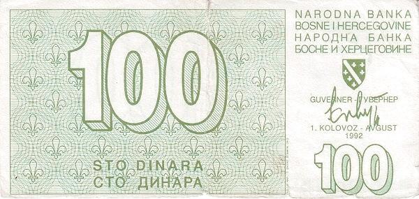 Bosnia and Herzegovina 100 Dinara (1992-1994 Narodna Banka Bosne i Hercegovine)