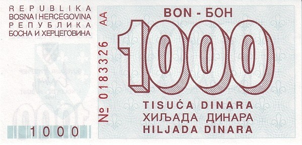 Bosnia and Herzegovina 1000 Dinara (1992-1994 Narodna Banka Bosne i Hercegovine)