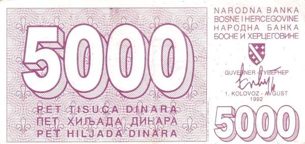 Bosnia and Herzegovina 5000 Dinara (1992-1994 Narodna Banka Bosne i Hercegovine)