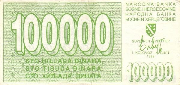 Bosnia and Herzegovina 100000 Dinara (1992-1994 Narodna Banka Bosne i Hercegovine)