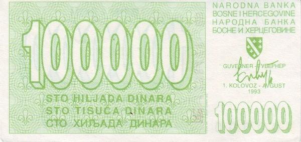 Bosnia and Herzegovina 100000 Dinara (1992-1994 Narodna Banka Bosne i Hercegovine-2)