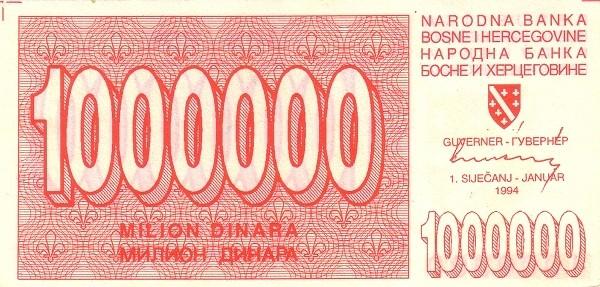 Bosnia and Herzegovina 1000000 Dinara (1992-1994 Narodna Banka Bosne i Hercegovine)