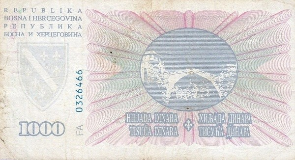 Bosnia and Herzegovina 1000 Dinara (1994 Narodna Banka Bosne i Hercegovine)