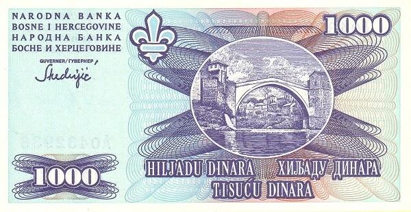 Bosnia and Herzegovina 1000 Dinara (1993 Narodna Banka Bosne i Hercegovine)