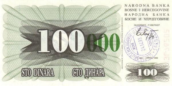 Bosnia and Herzegovina 100000 Dinara (1993 Emergency Issue Narodna Banka Bosne i Hercegovine)