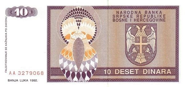 Bosnia and Herzegovina 10 Dinara (1992-1993 Republika Srpska)