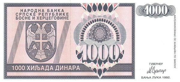 Bosnia and Herzegovina 1000 Dinara (1992-1993 Republika Srpska)