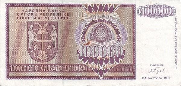Bosnia and Herzegovina 100000 Dinara (1992-1993 Republika Srpska)