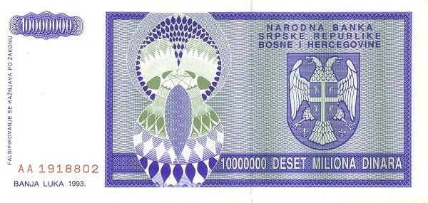 Bosnia and Herzegovina 10000000 Dinara (1992-1993 Republika Srpska)