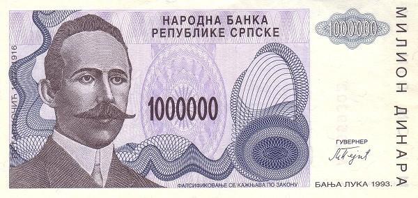 """Bosnia and Herzegovina 1000000 Dinara (1993 """"Petar Kočić"""" Republika Srpska)"""