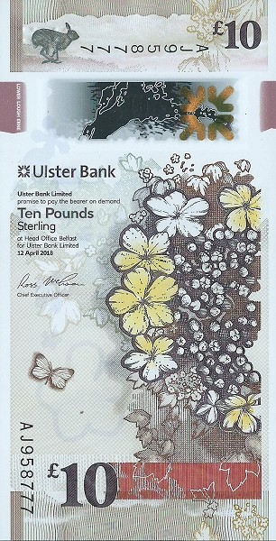 Northern Ireland 10 Pounds (2019 Ulster Bank Issue)