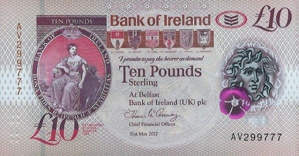 Northern Ireland 10 Pounds (2018 Bank of Ireland)