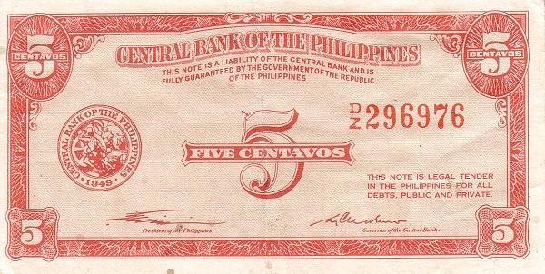 Philippines 5 Centavos (English Language Only 1949)