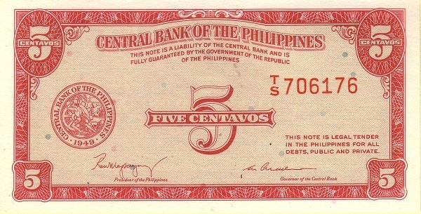 Philippines 5 Centavos (English Language Only 1949-2)
