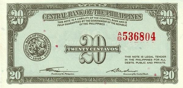 Philippines 20 Centavos (English Language Only 1949)
