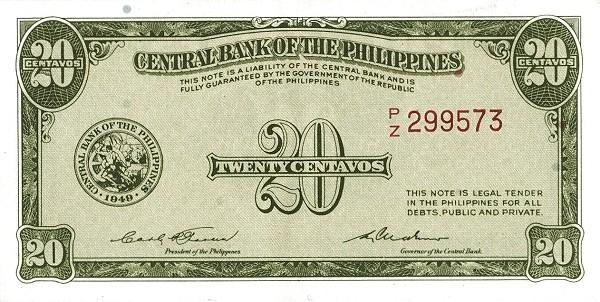 Philippines 20 Centavos (English Language Only 1949-2)