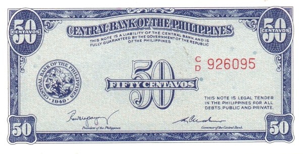 Philippines 50 Centavos (English Language Only 1949)
