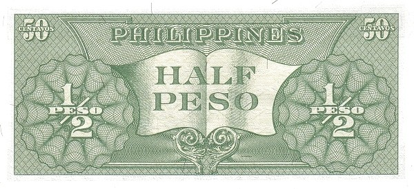 Philippines ½ Peso (English Language Only 1949)