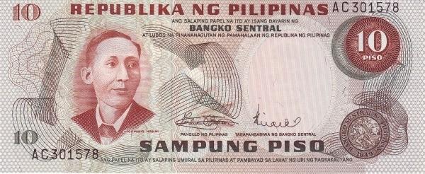 Philippines 10 Piso (Bangko Sentral ng Pilipinas 1970)