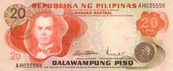 Philippines 20 Piso (Bangko Sentral ng Pilipinas 1970)